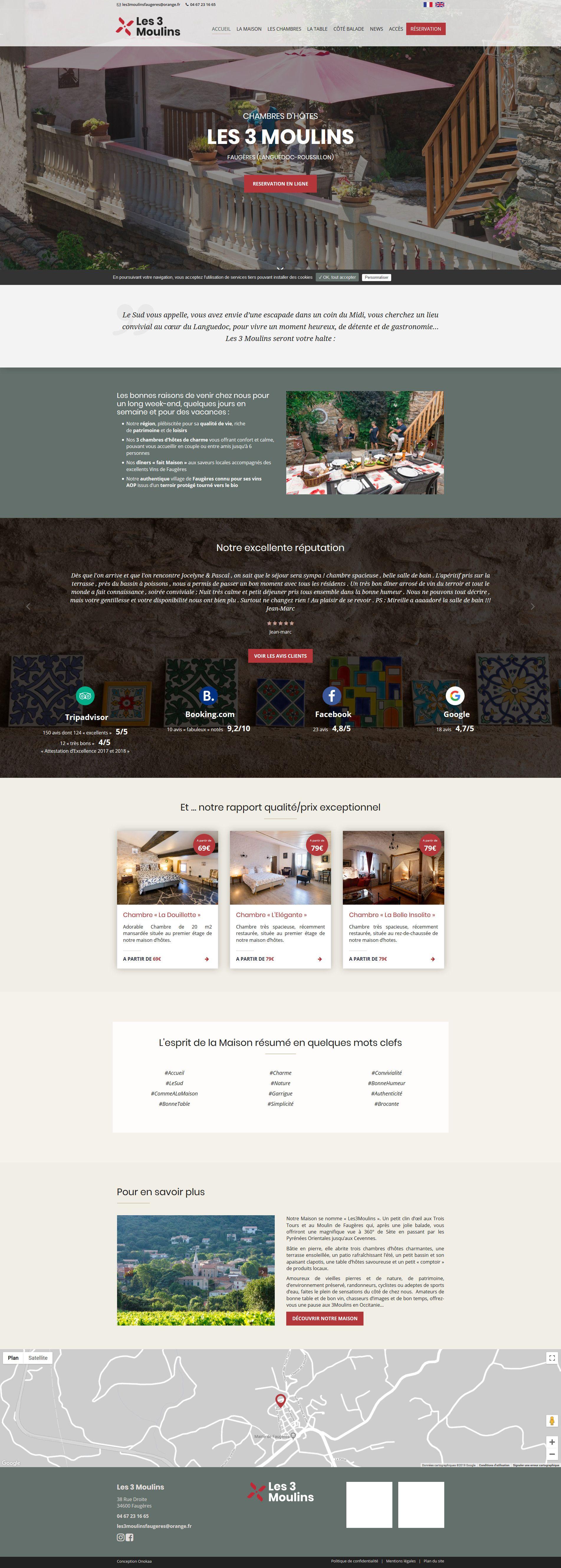 Création du site internet de la maison d'hôtes les 3 Moulins