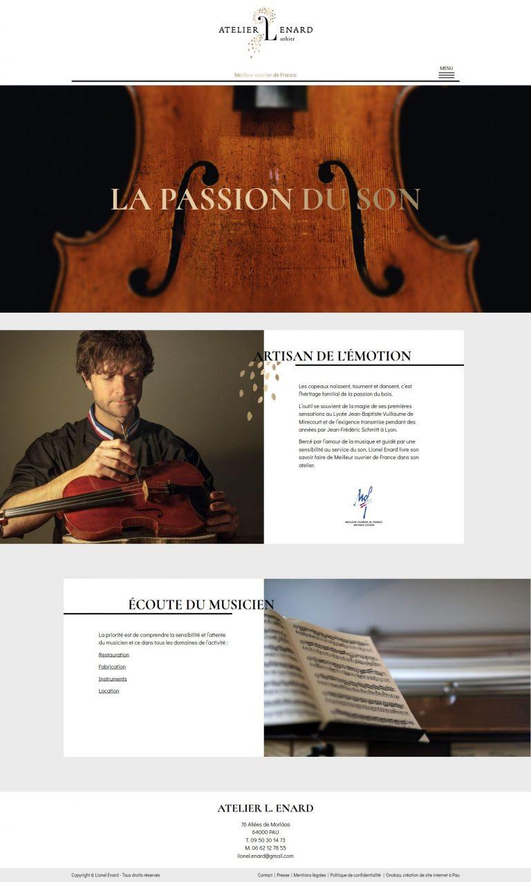 Intégration site internet Atelier L. Enard